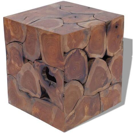 vidaXL 1/2/4x Bois de Teck Massif Tabouret Table Basse Repose-pied Table d'Appoint Table de Canapé Salon Salle de Séjour Maison Intérieur
