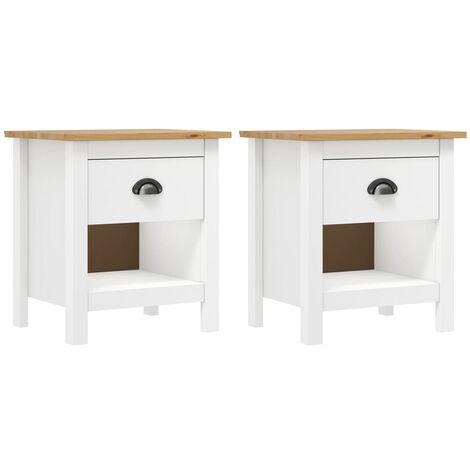 vidaXL 1/2 pcs Solid Pine Wood Bedside Cabinet Nightstand Bed Stand Unit Bedroom Storage Side Cabinet Wooden Sideboard Furniture Multi Colours