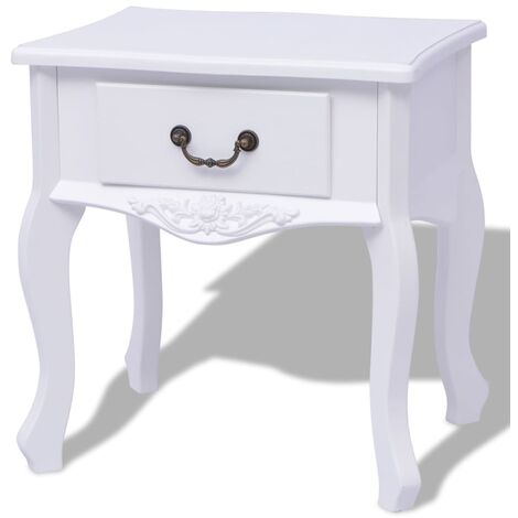vidaXL 1/2x Bedside Cabinets Side End Table with a Drawer Nightstand Storage Bed cabinet Home Indoor Living Room Interior Bedroom MDF White