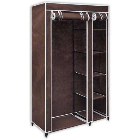 vidaXL 1/2x Folding Wardrobe Portable Cabinet Clothes Hanging Canvas Closet Bedroom Storage Shelf Organiser 110x45x175 cm Fabric Black/Brown