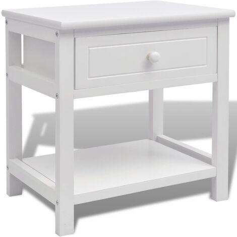 vidaXL 1/2x Solid Wood Bedside Cabinet Nightstand Wooden Side End Table Desk Bedroom Living Room Home Decoration Furniture White/Black