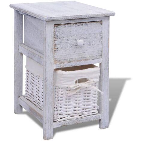 vidaXL 1/2x Solid Wood Bedside Cabinet Nightstand Wooden Side End Table Desk Bedroom Living Room Home Decoration Furniture White/Brown