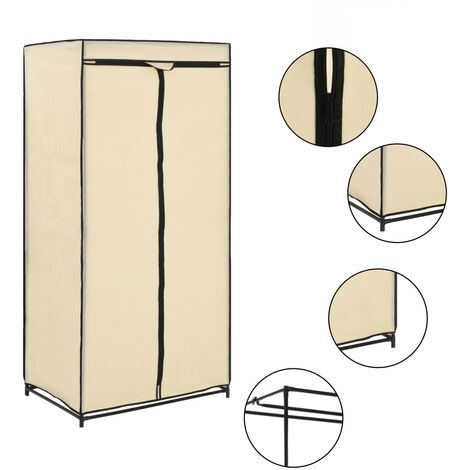 vidaXL 1/2x Wardrobe Basement Bedroom Attic Garment Closet Clothes Storage Cabinet Organiser Cupboard Hanging Rack Furniture Multi Colours