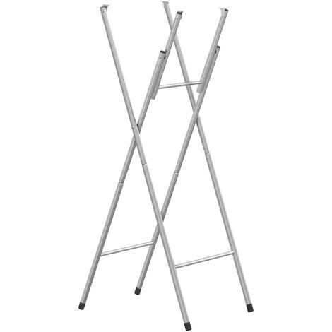 vidaXL 1/6x Patas de Mesa Plegables Estrctura Piernas Pie Recambio Repuesto Soportes de Mueble Alto de Bar Barra Cafetería Acero Galvanizado Plata
