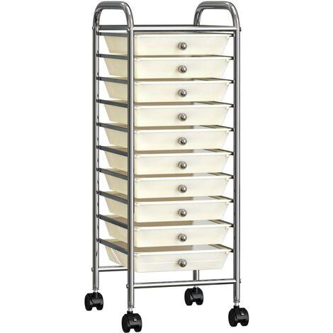vidaXL 10-Drawer Mobile Storage Trolley White Plastic - White