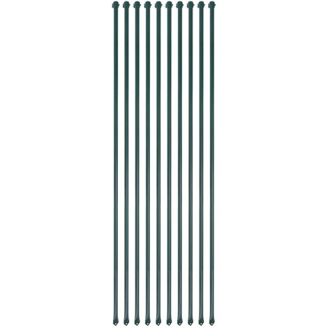 vidaXL 10x Garden Posts Metal Green Fencing Plant Supports Spikes Multi Sizes