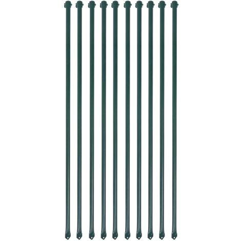 vidaXL 10x Postes para Valla de Jardín de Metal Verde Diferentes Tamaños