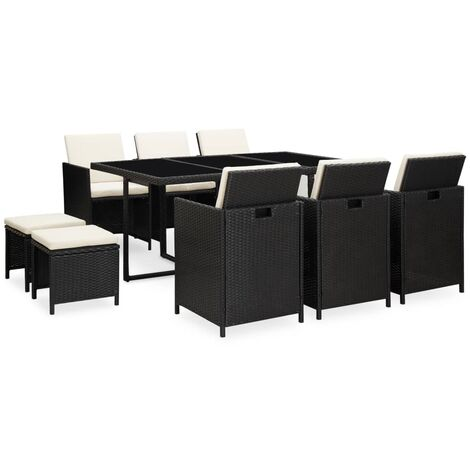 vidaXL 11 Piece Outdoor Dining Set with Cushions Poly Rattan Black - Black