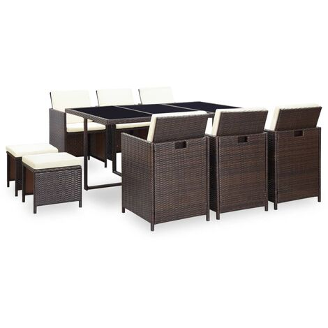vidaXL 11 Piece Outdoor Dining Set with Cushions Poly Rattan Brown - Brown