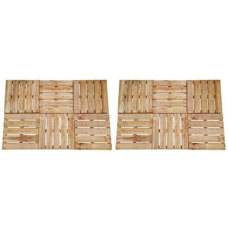 vidaXL 12 pcs Decking Tiles 50x50 cm Wood Brown - Brown