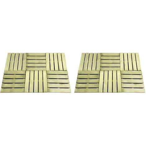 vidaXL 12 pcs Decking Tiles 50x50 cm Wood Green - Green