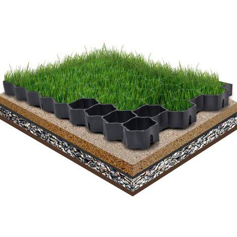vidaXL 16x Grilles d'Herbe Plastique Grille de Pelouse Grille de Gazon Terrain de Jeux Pavage Chemin Allée Jardin Extérieur Noir/Vert