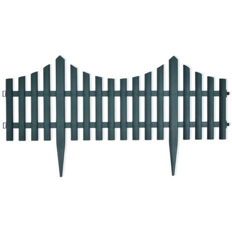vidaXL 17x Lawn Dividers Decorative Hardware Outdoor Garden Patio Lawn Fence Panels Gardening Edging Borders Barriers 10m Multi Colours