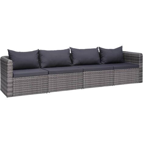 vidaXL 2/3/4x Canapés d'Angle de Jardin Résine Tressée Sofa de Jardin Chaise de Jardin Meuble de Patio Mobilier de Terrasse Cour Extérieur Gris