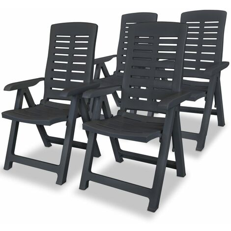 vidaXL 2/4/6 x Reclining Garden Chairs Plastic White Foldable Seats Outdoor Folding Chairs Bistro Chairs Patio Decor Weather Resistant