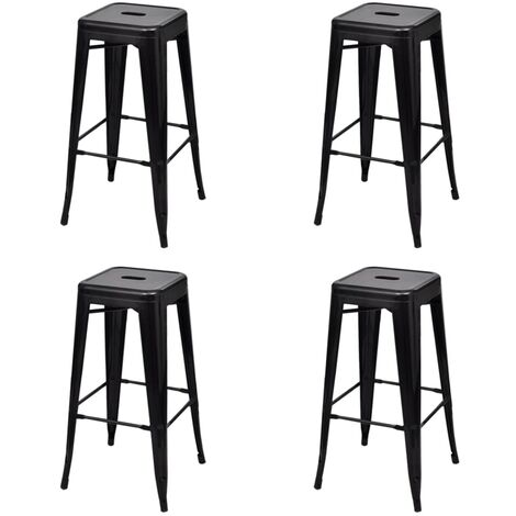 vidaXL 2/4/6x Bar Stools Counter Kitchen Dining Restaurant Home Office Cafe Chairs Seaters with Footrests Rest Decoration Steel Multi Colours