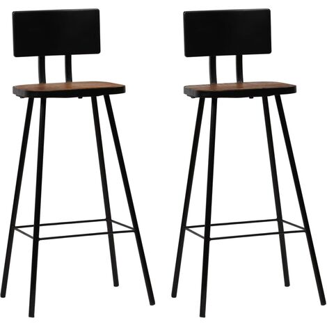 vidaXL 2/4x Solid Reclaimed Wood Bar Chairs Dark Brown Home Kitchen Dining Room Furniture Bar Stool Counter Stool Seat Industrial Design