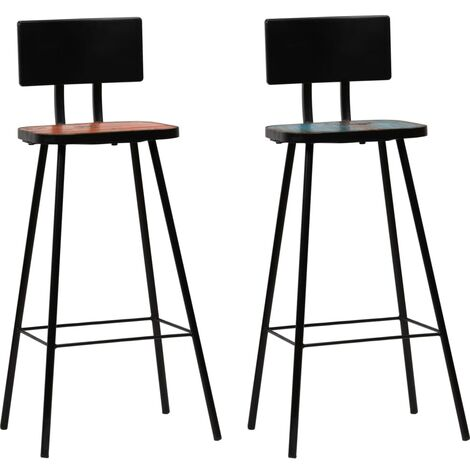 vidaXL 2/4x Solid Reclaimed Wood Bar Chairs Multicolour Home Kitchen Dining Room Furniture Bar Stool Counter Stool Seat Industrial Design