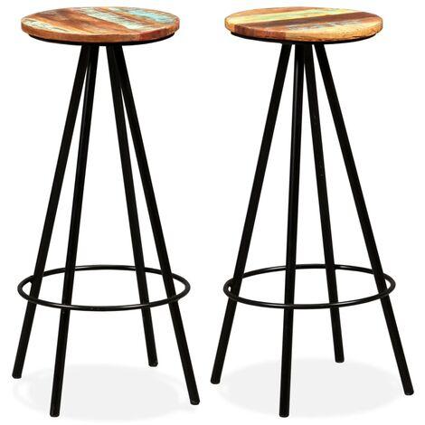 vidaXL 2/4x Tabourets de Bar Bois Massif de Récupération Chaises de Bistrot Sièges de Pub Tabourets de Comptoir Salle à Manger Restaurant