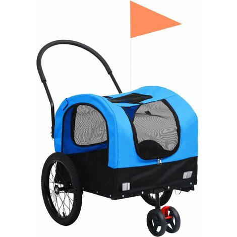vidaXL 2-in-1 Pet Bike Trailer & Jogging Stroller Blue and Black - Blue