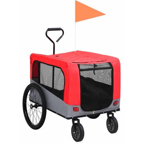 vidaXL 2-in-1 Pet Bike Trailer & Jogging Stroller Red and Grey - Red