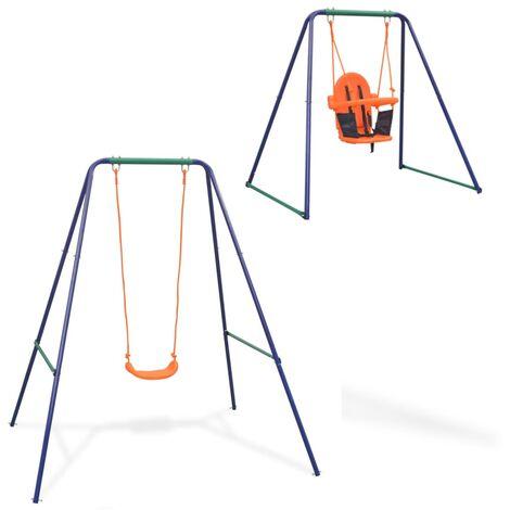 vidaXL 2-in-1 Single Swing and Toddler Swing Orange - Orange