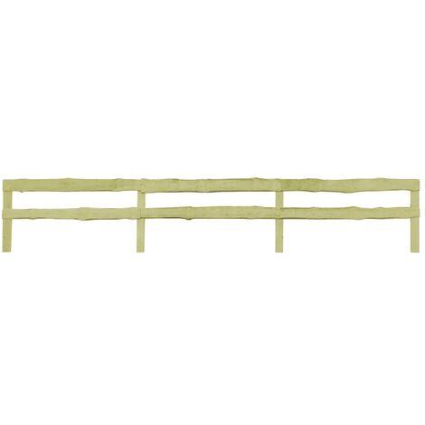 vidaXL 2 pcs 2-Rail Garden Fences Impregnated Pinewood 510x90 cm - Brown