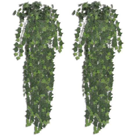 vidaXL 2 pcs Artificial Ivy Bush Realistic Fake Floral Plant Indoor Living Room Decoration Plastic Greenery Green/Variegated 90 cm