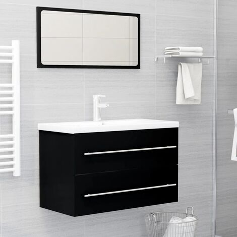 "main image of ""vidaXL 2 Piece Bathroom Furniture Set Black Chipboard - Black"""