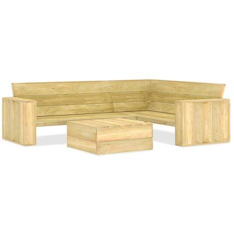 vidaXL 2 Piece Garden Lounge Set Impregnated Pinewood - Brown