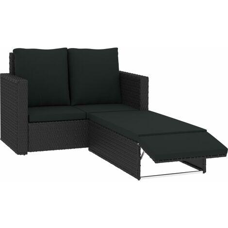 vidaXL 2 Piece Garden Lounge Set with Cushions Poly Rattan Black - Black