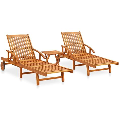 """main image of """"vidaXL 2 Piece Sunlounger Set with Table Solid Acacia Wood"""""""