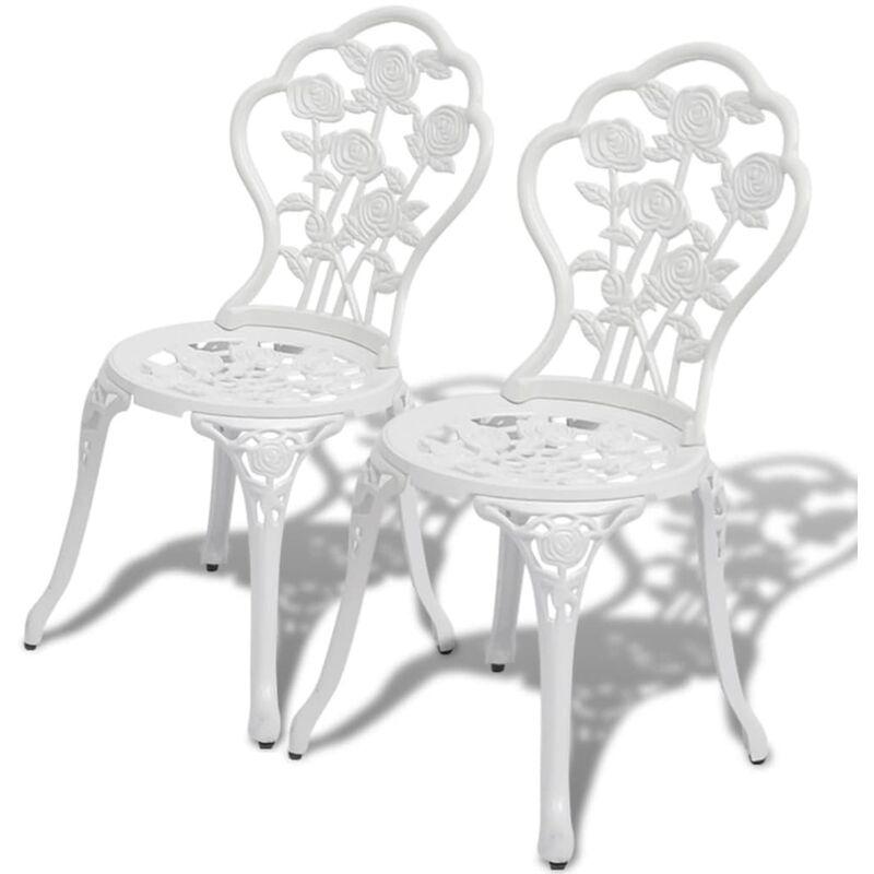 Sedie da Bistrot 2 pz in Alluminio Pressofuso Bianche - Bianco - Vidaxl