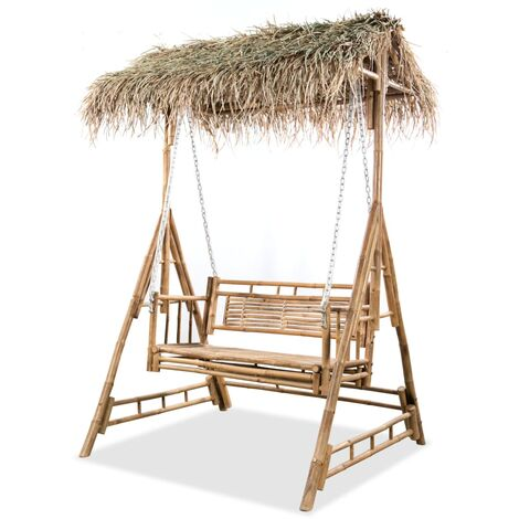 vidaXL 2-Seater Swing Bench with Palm Leaves Bamboo 202 cm - Brown