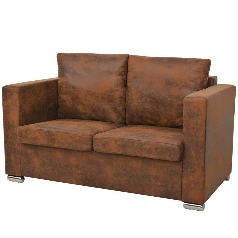 2-Sitzer Sofa 137 x 73 x 82 cm Künstliches Wildleder - VIDAXL