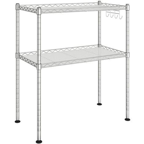 vidaXL 2-Tier Microwave Oven Rack 60x30x60 cm Chromed Iron - Silver