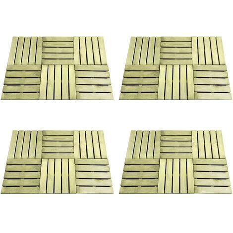 vidaXL 24 pcs Decking Tiles 50x50 cm Wood Green - Green