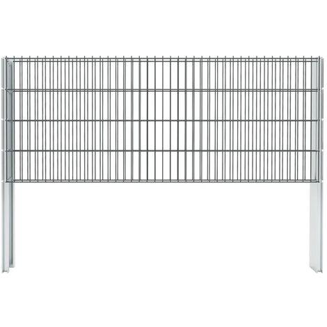 vidaXL 2D Gabion Fence Galvanised Steel 2.008x0.83 m 16 m (Total Length) Grey - Grey