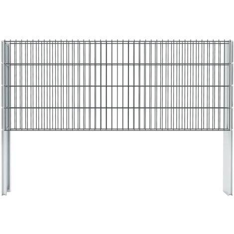 vidaXL 2D Gabion Fence Galvanised Steel 2.008x0.83 m 18 m (Total Length) Grey - Grey