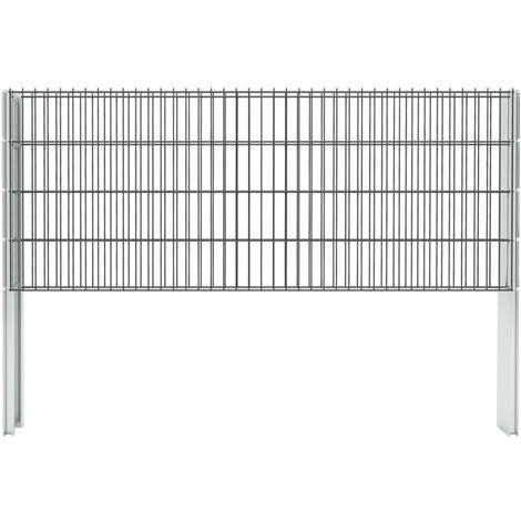 vidaXL 2D Gabion Fence Galvanised Steel 2.008x0.83 m 20 m (Total Length) Grey - Grey