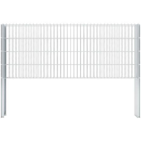 vidaXL 2D Gabion Fence Galvanised Steel 2.008x0.83 m 4 m (Total Length) Silver - Silver
