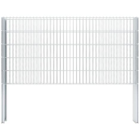vidaXL 2D Gabion Fence Galvanised Steel 2.008x1.03 m 2 m (Total Length) Silver - Silver