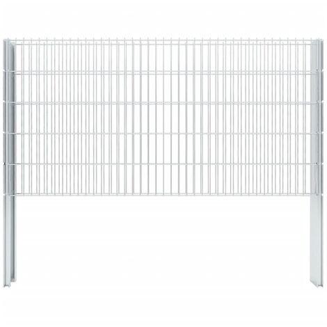 vidaXL 2D Gabion Fence Galvanised Steel 2.008x1.03 m 4 m (Total Length) Silver - Silver