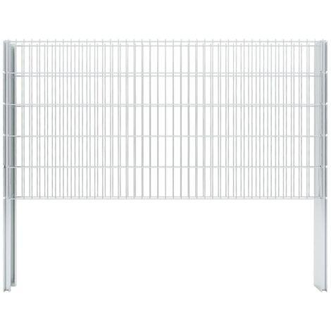 vidaXL 2D Gabion Fence Galvanised Steel 2.008x1.03 m 6 m (Total Length) Silver - Silver