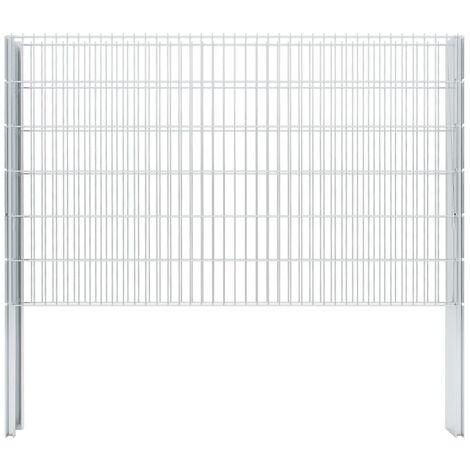 vidaXL 2D Gabion Fence Galvanised Steel 2.008x1.23 m 2 m (Total Length) Silver - Silver