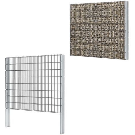 vidaXL 2D Gabion Fence Galvanised Steel 2.008x1.63 m 2 m (Total Length) Grey - Grey