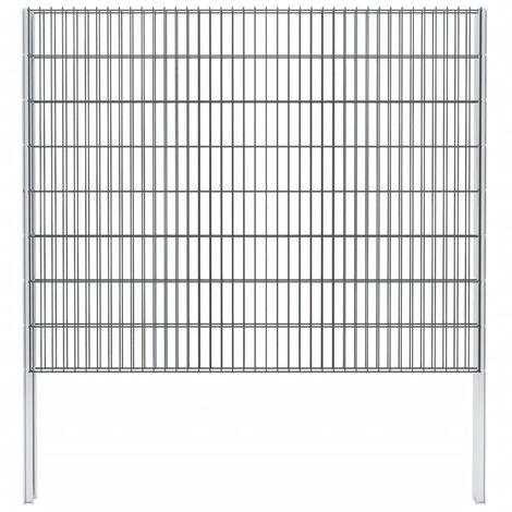 vidaXL 2D Gabion Fence Galvanised Steel 2.008x1.63 m 4 m (Total Length) Grey - Grey