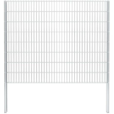 vidaXL 2D Gabion Fence Galvanised Steel 2.008x1.63 m 4 m (Total Length) Silver - Silver