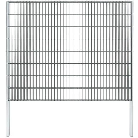 vidaXL 2D Gabion Fence Galvanised Steel 2.008x1.63 m 6 m (Total Length) Grey - Grey