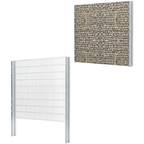 vidaXL 2D Gabion Fence Galvanised Steel 2.008x1.83 m 16 m (Total Length) Silver - Silver